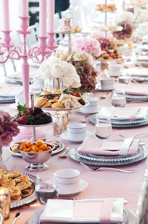 Real Afternoon Tea Party Wedding Pink Grey Empire State Building Valentines Day