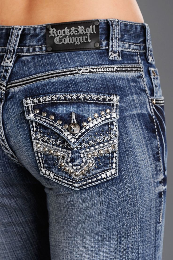 Rock and Roll cowgirl Mid-Rise Embroidered Jeans