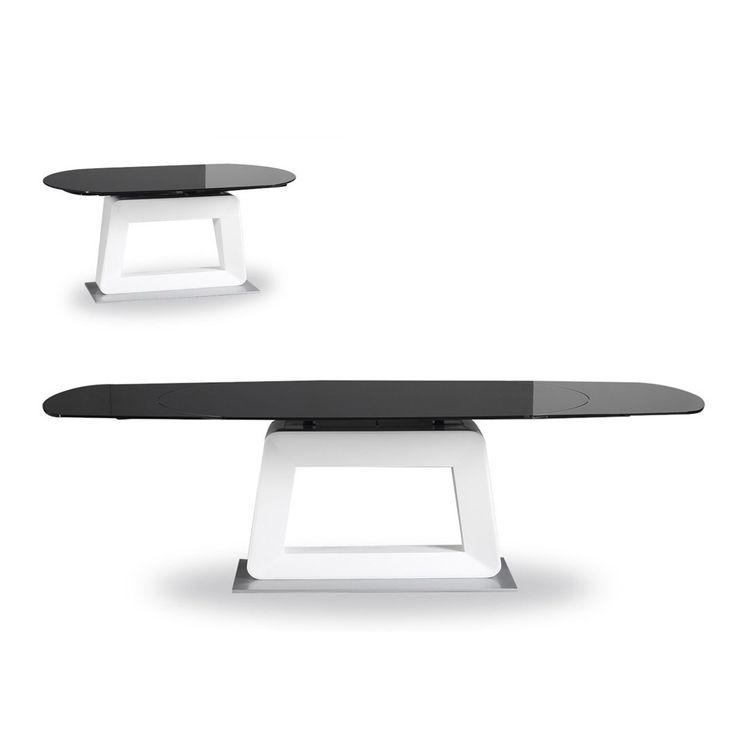 VIG Furniture VGEWD2042FB Modrest Revel Modern Extendable Dining Table In Black White