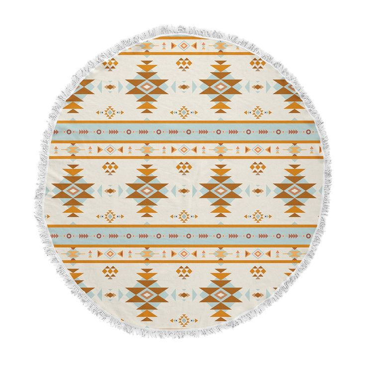"afe images ""AFE Southwestern"" Multicolor Ethnic Tribal Digital Illustration Round Beach Towel Blanket from KESS InHouse"