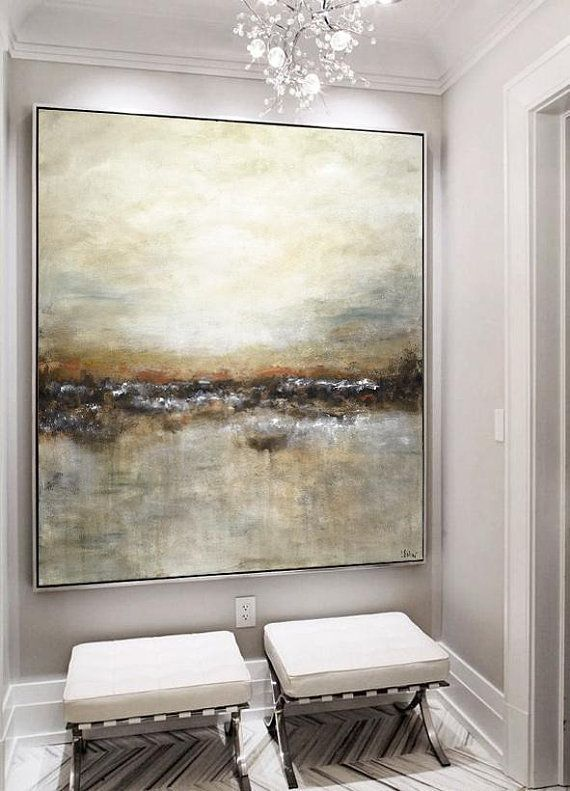 Large original abstract landscape painting tan bro…