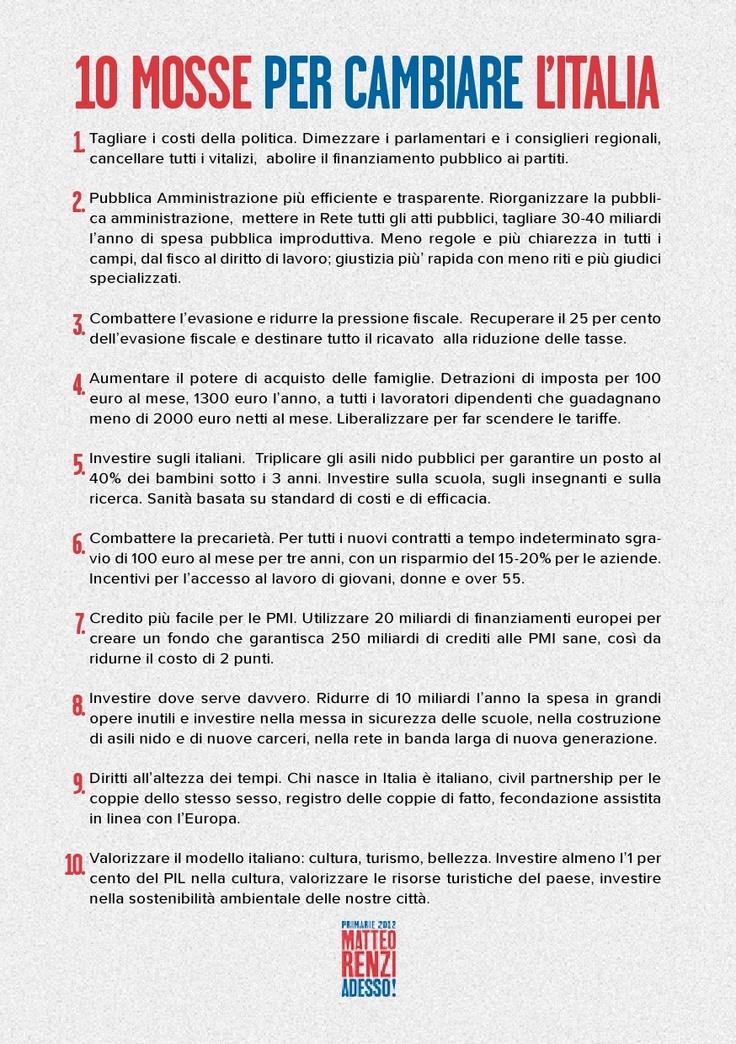 10 mosse per cambiare l'Italia. Volantino - retro. 10 punti.  www.matteorenzi.it