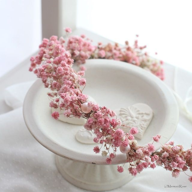 花かんむり*カスミソウ(アンティークピンク)   枠waku*wreath花冠 by MermaidRose~uchi-soto wreath #baby's breath #flower crown