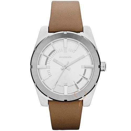 Ρολόι Diesel Good Company White Dial Brown Leather Strap - BeMine.gr