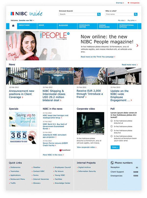 nibc bank sharepoint intranet design part of the portfolio of freelance webdesigner michiel nagtegaal