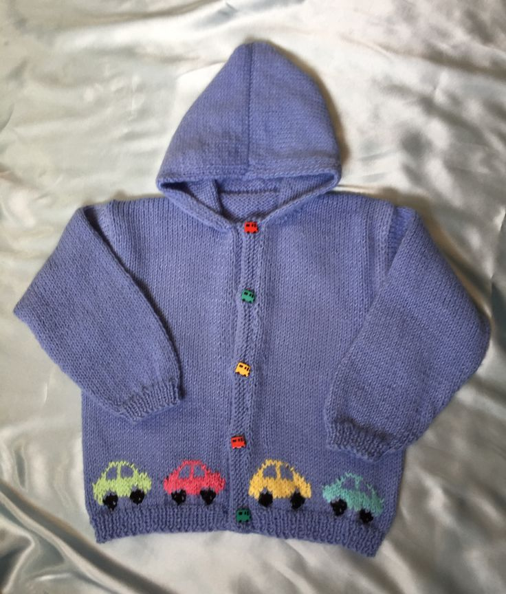 Boy's Car Sweater with Hood - For sizes 2 years to 6 years, this is what all little boys would want to wear!  Maybe even girls too, but remember to change the buttonhole band to right side for girls, left side for boys. This is made in a little lighter weight size 4 worsted weight yarn.  We used Lion Brand Pound of Love,  a 16 ounce ball of 1,020 yards.  This jumbo ball of yarn will make 2 sweaters in smaller size.  You can add as many cars as you wish while knitting away.    $3.95