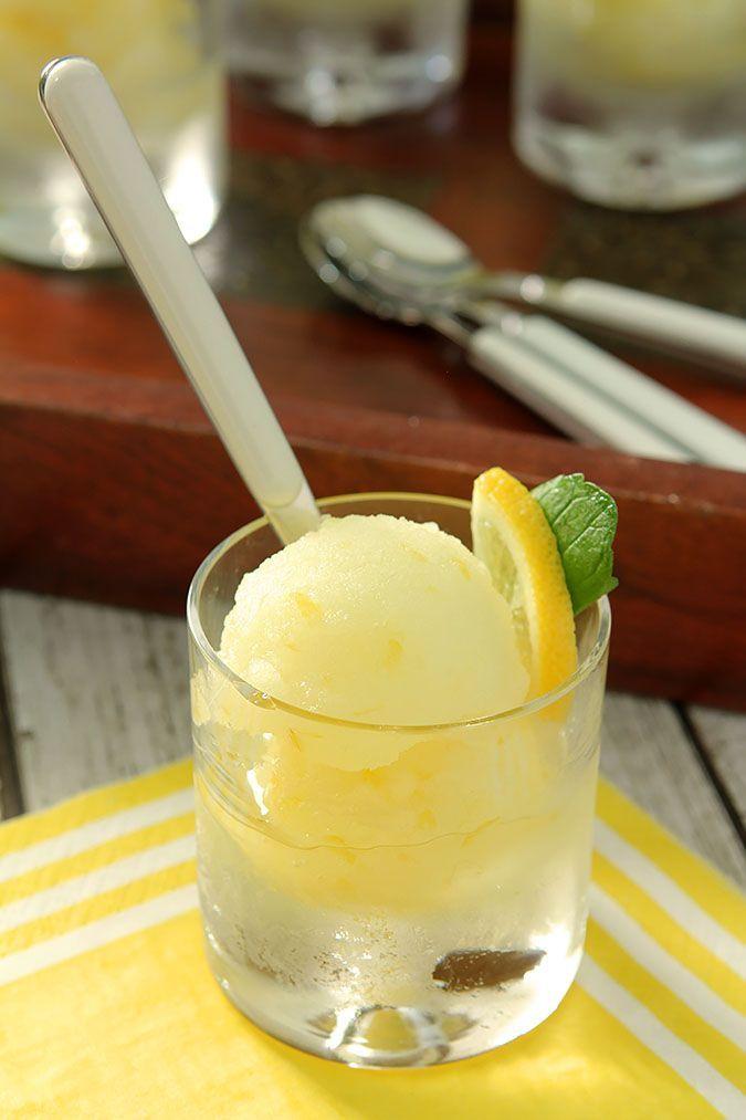 Limoncello Sorbet ~ sugar, water, fresh lemon juice, lemon zest, limoncello, pinch of salt