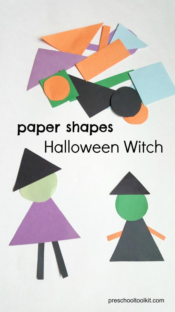 Make a Halloween Witch with Colorful Paper Shapes - Preschool Toolkit