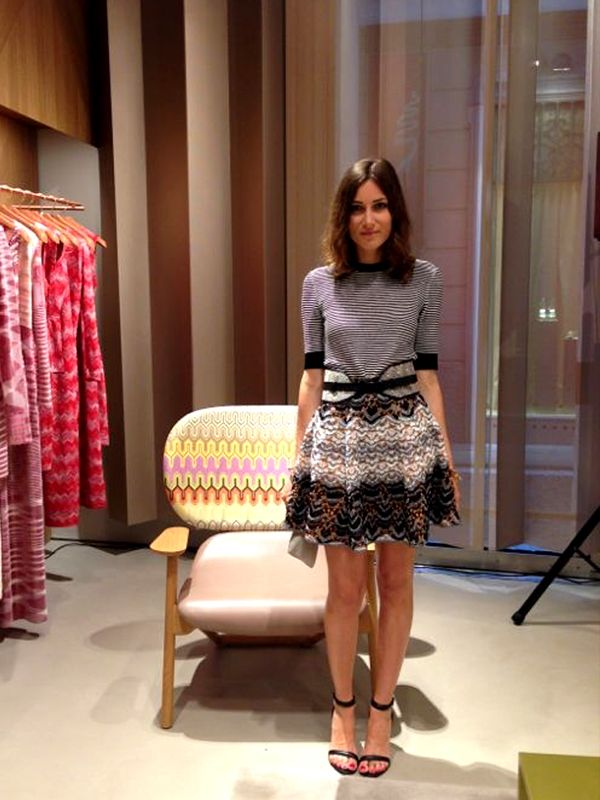 Giorgia Tordini at Missoni cocktail in Milan, wearing total look Missoni and Alexander Wang shoes. June 2013.