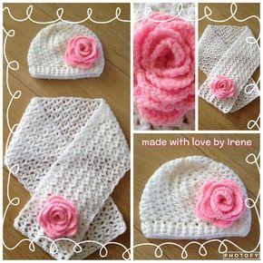 Loopy love scarf sjaal met bloem roos gehaakt gehaakte haken haakpatroon haak patroon muts