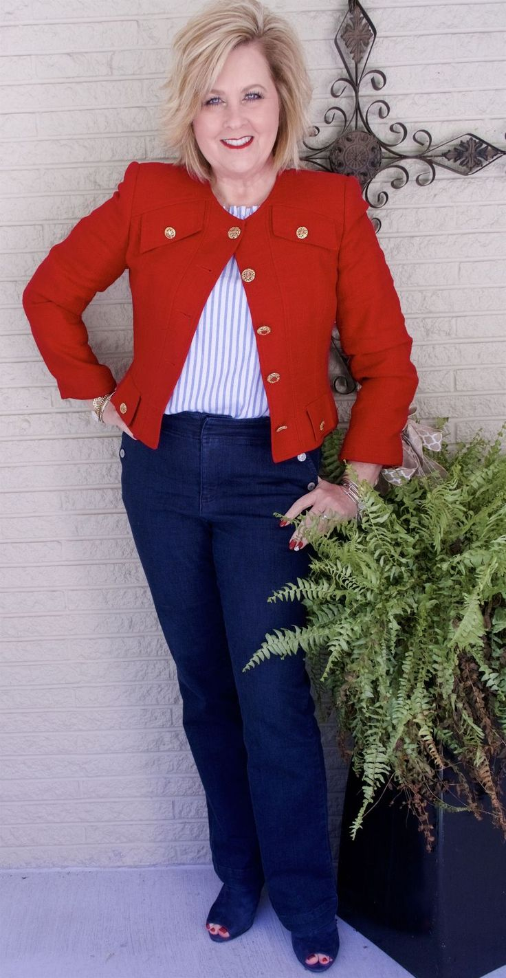 50 IS NOT OLD   SAILOR PANTS AND A CROP JACKET   Military Inspired   Statement Jacket   Fashion over 40 for the everyday woman