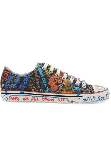 Printed Canvas Sneakers In Black (With