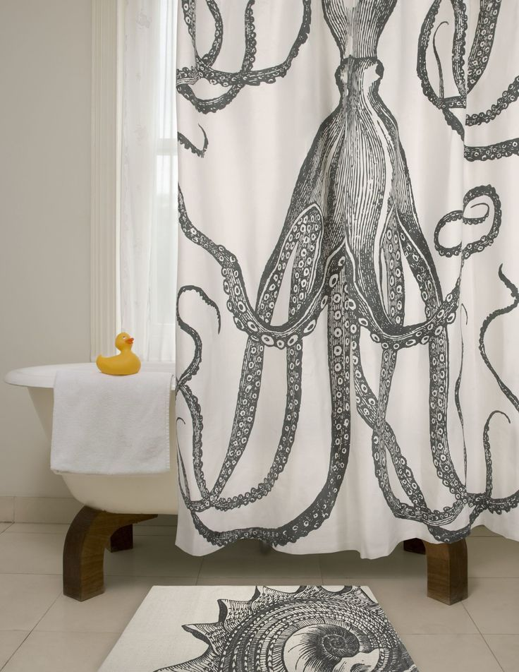 Bath Cotton Octopus Shower Curtain