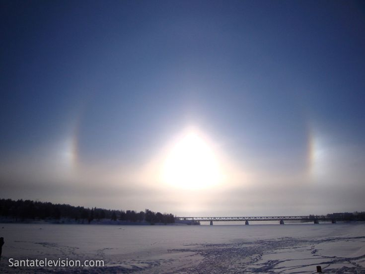 Halo phenomenon in Rovaniemi City Center in Lapland in Finland