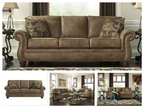 Brown-Leather-Sofa-Couch-Living-Room-Furniture-Classic-Rustic-Accent-Traditional