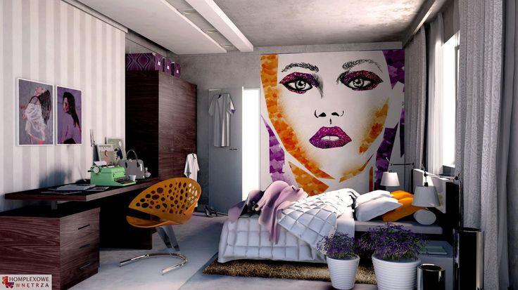 Aranżacja sypialni wystrój nowoczesny w kolorach biały, czarny, fioletowy, szary - projekt wnętrza o id 6637980 w Homplex.pl, Zestaw wyposażenia za 15684 zł ($4901)