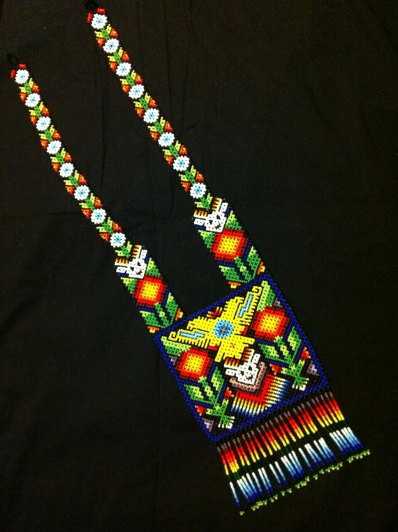 Huichol Peyote Beaded Necklace by HuicholArte on Etsy, #beadwork