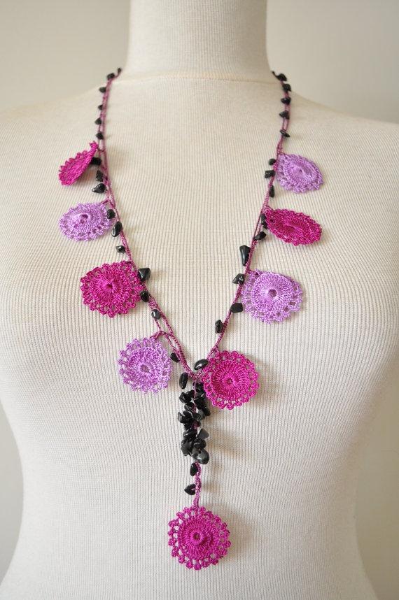 Lace Turkish Oya Necklace With  Purple Flowers by EvilEyeGiftShop, $19.00