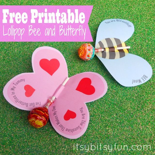 Valentine's Day Goodie: Butterfly or Bee Lollipop (free printable) - Itsy Bitsy Fun