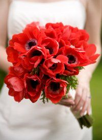 Red Christmas wedding bouquet featuring beautiful anemones, perfect for a winter wedding at www.myweddingflowerideas.co.uk