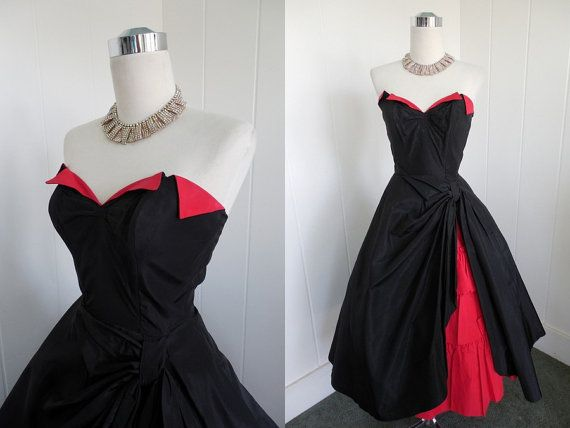 1950s Vintage Black and Red Dress with Hidden Ruffles