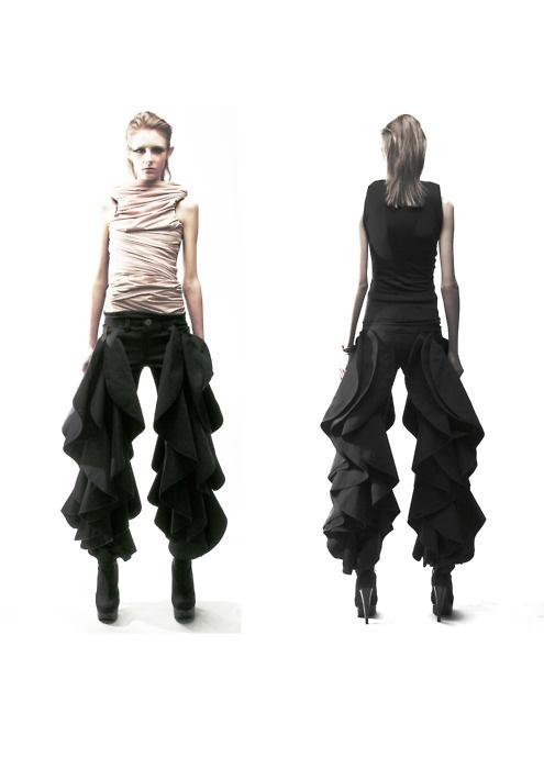 Wearable Art - jeans with dramatic cascading ruffle detail - 3D fashion; sculptural fashion design // Robert Wun