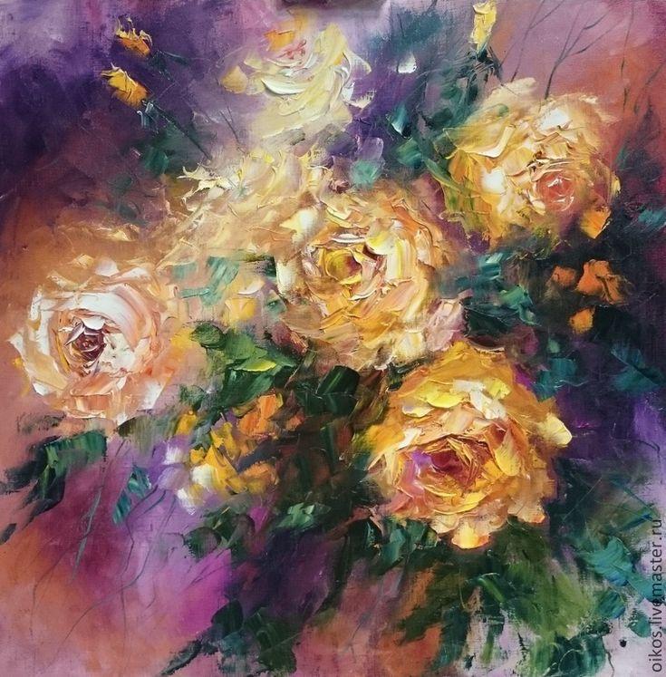 Купить Большая картина маслом на холсте - желтые розы - разноцветный, фиолетовый, купить картину цветы