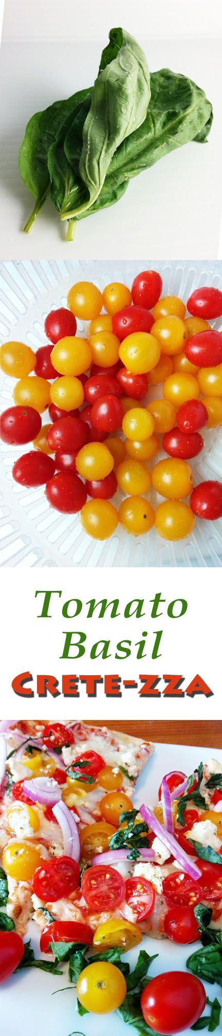 Vegetarian #flatbread #pizza bursting with flavors of the Mediterranean. #tomato #basil #feta