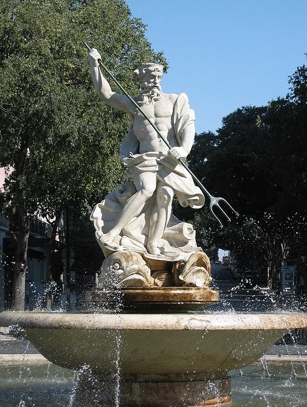 Largo de D. Estefânia, Triton fountain #Lisbon #Portugal