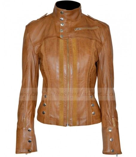 Womens Fitted Leather Jacket for sale at Discounted Price $199.00 Slim Fit Tan Jacket for Ladies. #bikerjacket #leatherjacket #jacket #womenjacket #brownjacket
