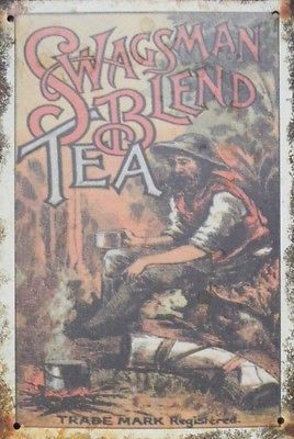 swagmans blend tea rusty tin,metal sign,20 by 30cm