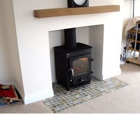 Clearview Pioneer wood burning stove with mosaic tile hearth
