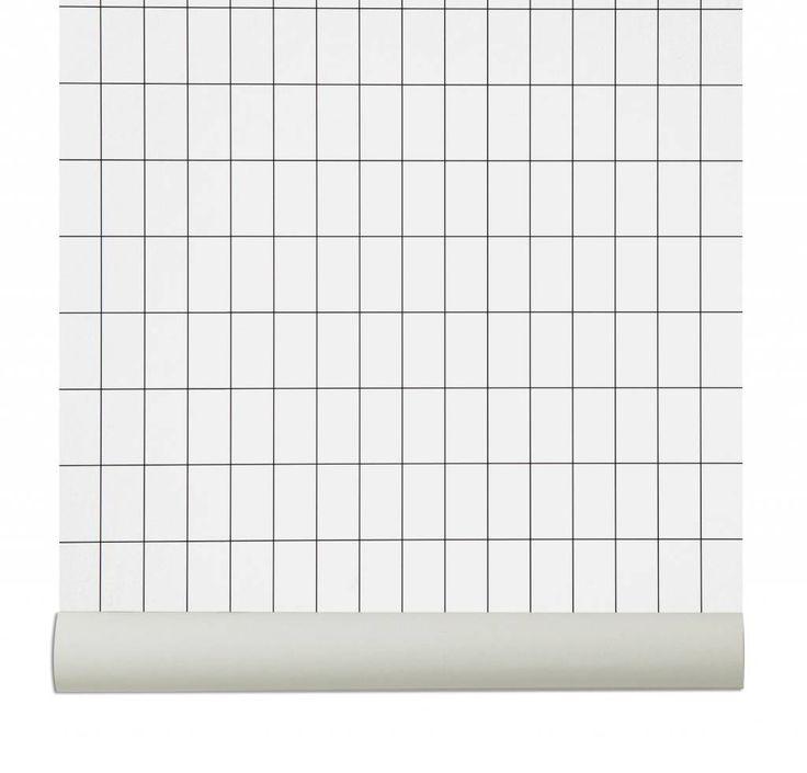 ferm living behang grid zwart/wit papier 10.05x0.53cm * Source : lefliving.be