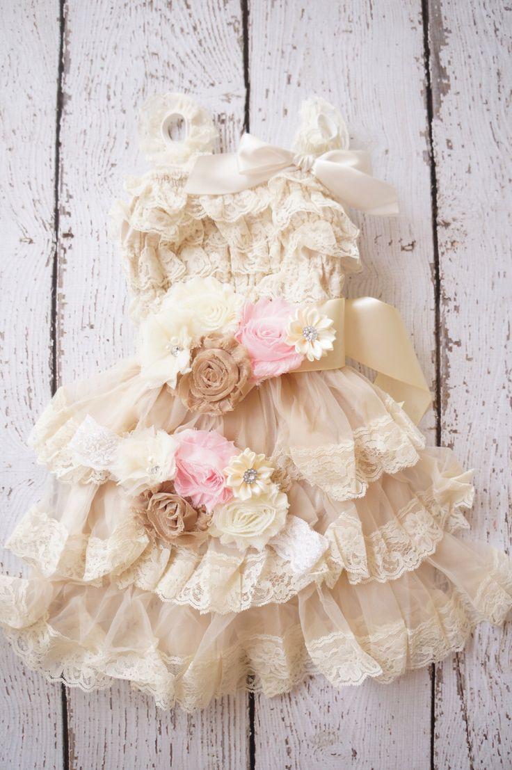 Flower Girl Dress -Lace Flower girl dress -Baby Lace Dress - Rustic- Country Flower Girl dress- Lace Dress -Ivory Lace dress -birthday dress by PoshPeanutKids on Etsy https://www.etsy.com/listing/176958215/flower-girl-dress-lace-flower-girl-dress