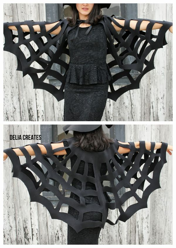 Make a super spooky big or little sized cape with this No-Sew Halloween Spiderweb Cape tutorial. Can be sized for adults or kids.