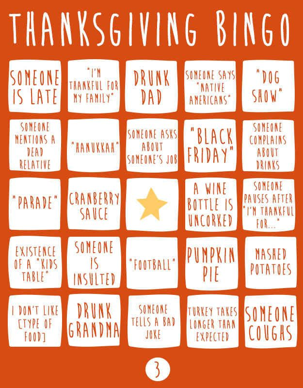 Thanksgiving Bingo To Play At The Dinner Table - BuzzFeed