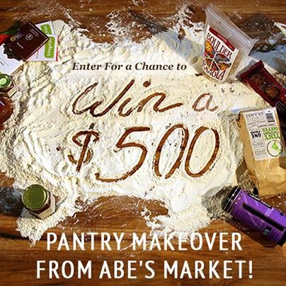 Enter for a chance to win a pantry makeover from Abe's Market!       If you SHARE with friends on Facebook you can earn more entries and a special coupon code from Abe's. Good luck!