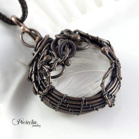 White feather pendant necklace by Pociecha by POCIECHAjewelry