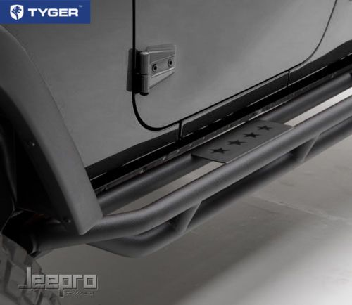 Tyger Side Step Armor Textured Black Nerf Bars Fit 07 15 Jeep Wrangler JK 2 Door   eBay