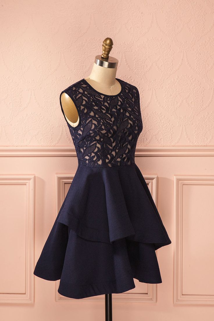 Natsuda Marine - Blue lace bust layered dress