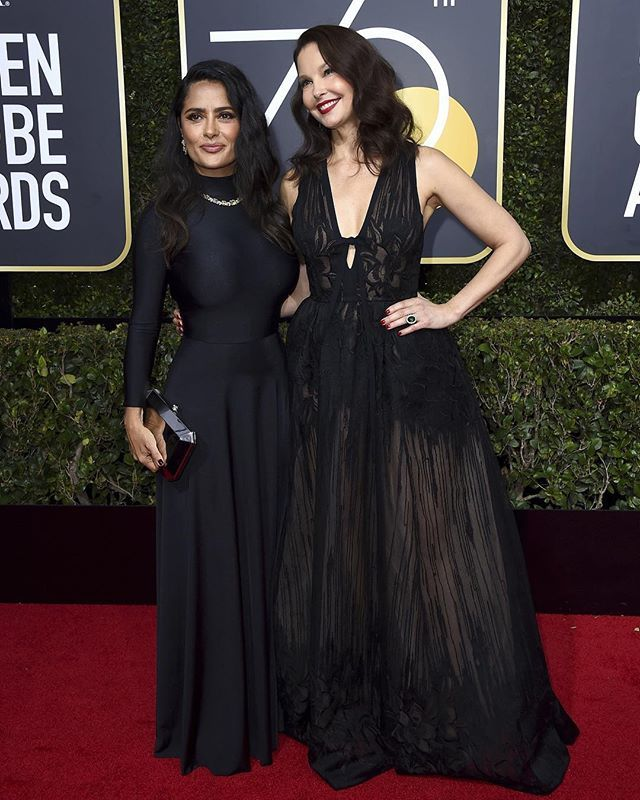 Salma Hayek and Ashley Judd on the red carpet. #goldenglobes #timesup via WOMEN'S WEAR DAILY MAGAZINE official Instagram - #Beauty and #Fashion Inspiration - Beautiful #Dresses and #Shoes - Celebrities and Pop Culture - Latest Sales and Style News - Designer Handbags and Accessories - International Advertising Campaigns - Gifts and Bargain #Shopping Guide - Famous Luxury Brands on Instagram - Trendsetters Fashionistas and Shopaholics - Editorial Magazine Covers - Supermodels and Runway…
