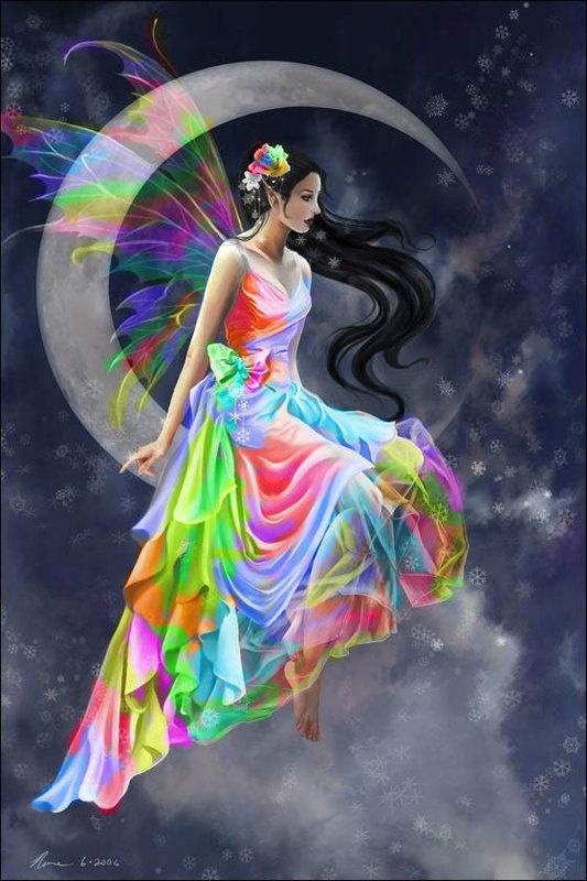 rainbow fairy sitting on a crescent moon