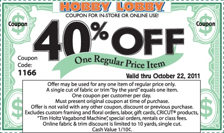 I ALWAYS google Hobby Lobby coupon on my phone while waiting to check out. Saving 40% off an item is always cool.  I use this ALL the time!!!