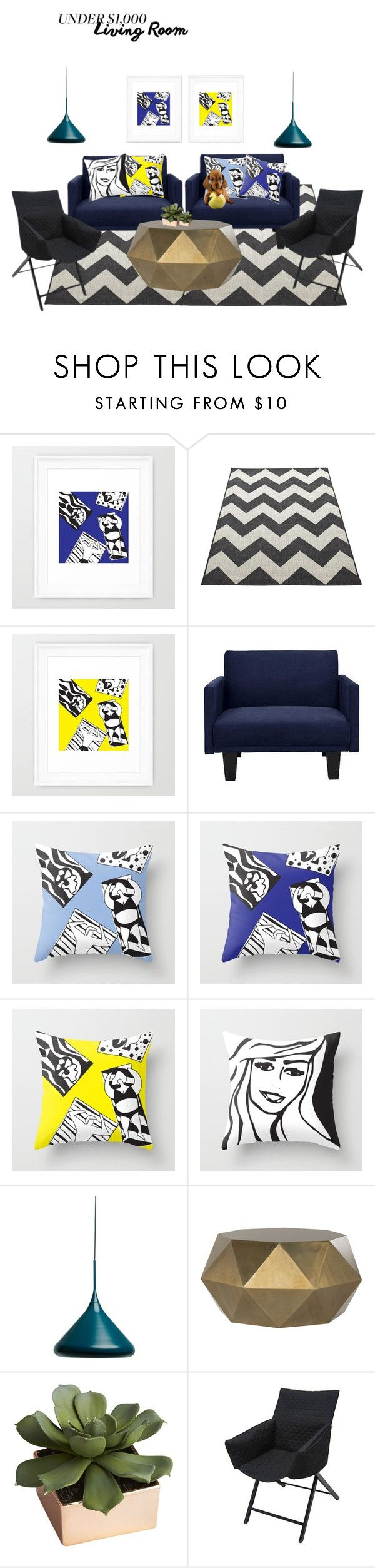 """""""Modern Pop Art Living Room On a Budget"""" by tatianamab on Polyvore featuring interior, interiors, interior design, home, home decor, interior decorating, CB2, living room, modern and livingroom"""