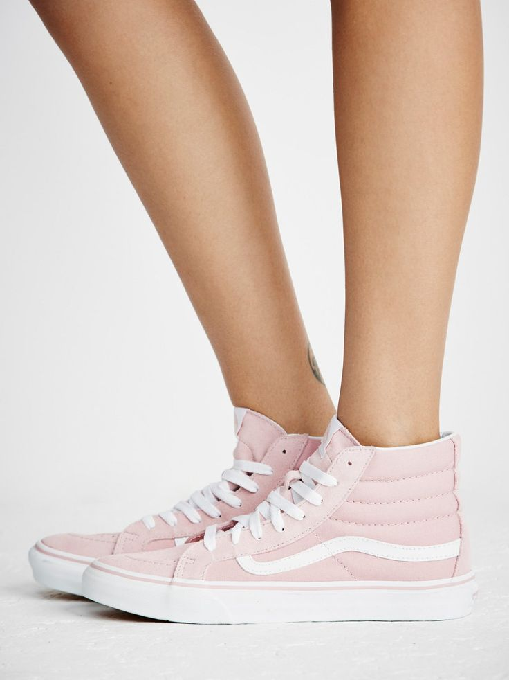 Sk8-Hi Slim Hi Top Sneaker   Super sporty and classic Vans Sk-8 sneaks featured in a high-top silhouette. Suede and canvas upper and lace-up detailing. Sturdy rubber sole for ultra-comfortable wear.