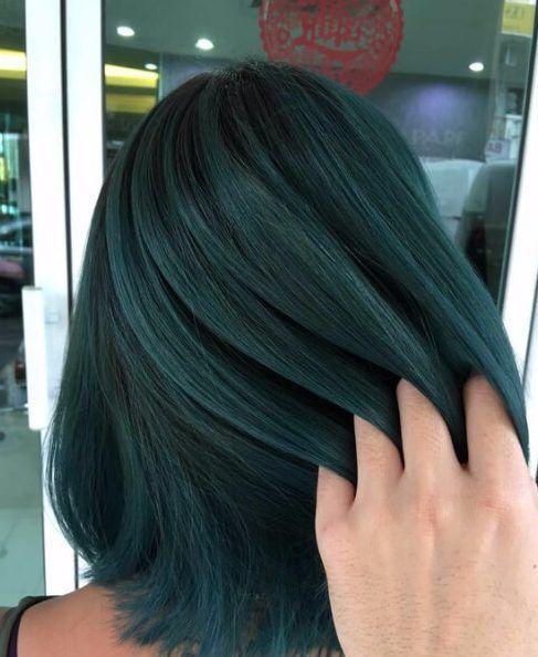 dark green blue hair