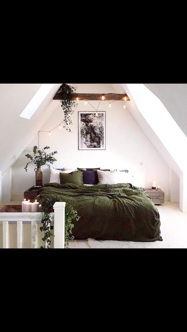 A forest green and purple bedroom! Maybe some brown leather too.