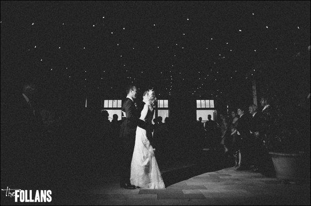 Sarah & Nate's romantic bridal dance under fairy lights in the courtyard of the Tea Rooms Gunners Barracks Sydney