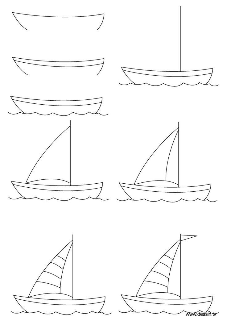 How to draw a sailboat, step-by-step. (Click to enlarge, then shrink-to-fit 85% to fit on one page.) (art, kids, drawing lesson)