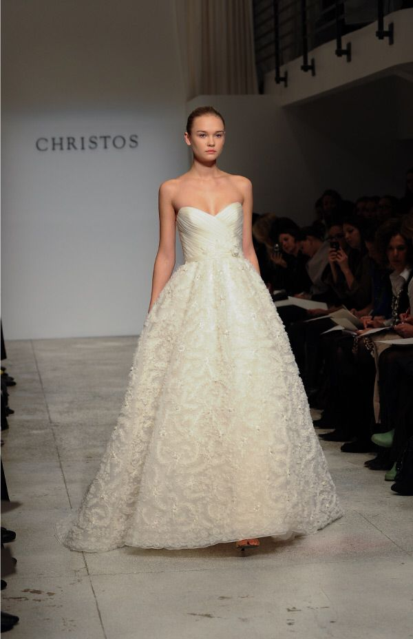 Christos Pleat And Floral Gown